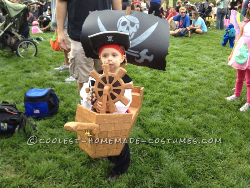 Here is my two year olds wearable pirate ship costume. The costume is really light weight because it is made entirely of foam and a small amoun