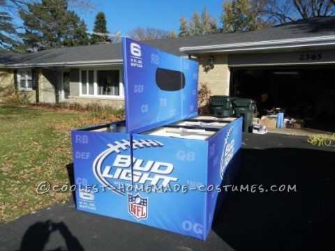 What better fitting than a six pack costume for a bunch of Bud Light beer lovers.A group of friends were attending the Nightmare on Chicago Street,
