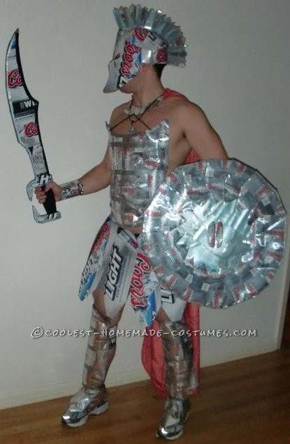 Awesome Coors Light Spartan Knight Costume Made of Boxes and Cans!