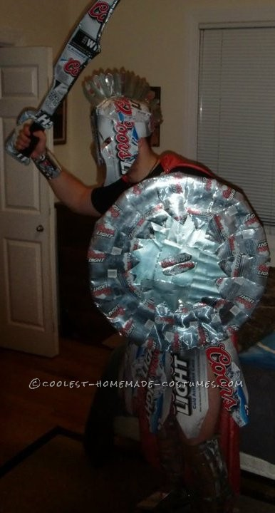 Awesome Coors Light Spartan Knight Costume Made of Boxes and Cans! - 1