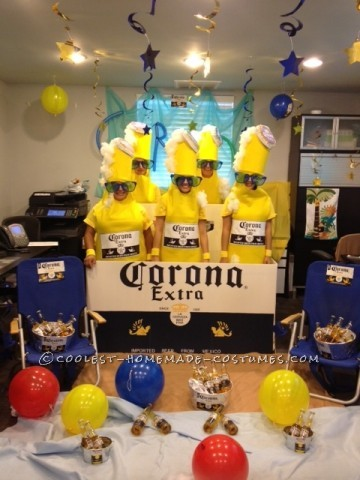 Corona 6 pack costumes was originated from an idea we seen on pinterest but with bud light logo. We used a lot of yelow felt and man it was hot
