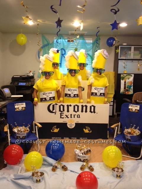 Corona 6 pack costumeswas originated from an idea we seen on pinterest but with bud light logo. We used a lot of yelow felt and man it was hot