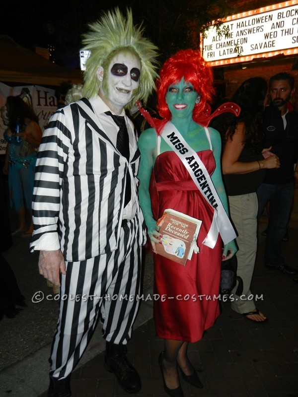 halloween crazy creative beetlejuice and miss argentina couple costume with
