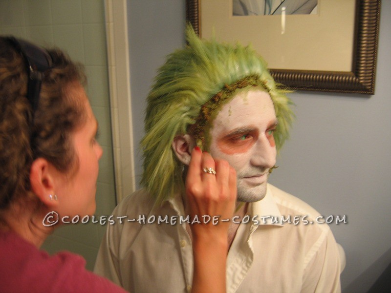 Applying Beetlejuice Makeup