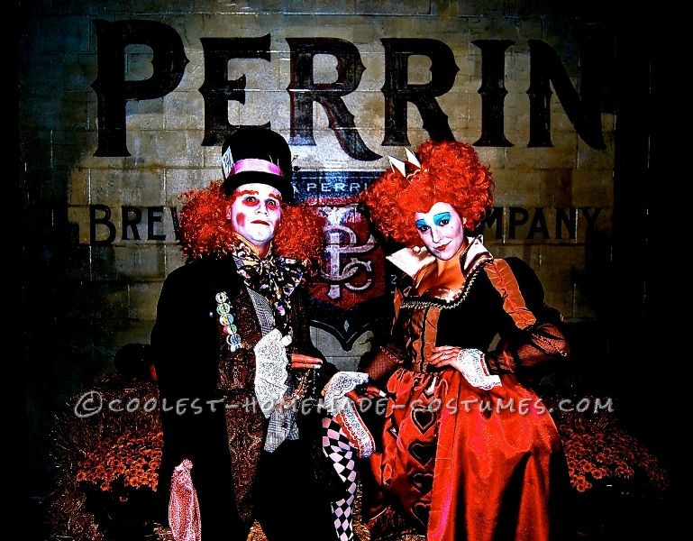 Awesome Homemade Red Queen and Mad Hatter Couple Costume - 1