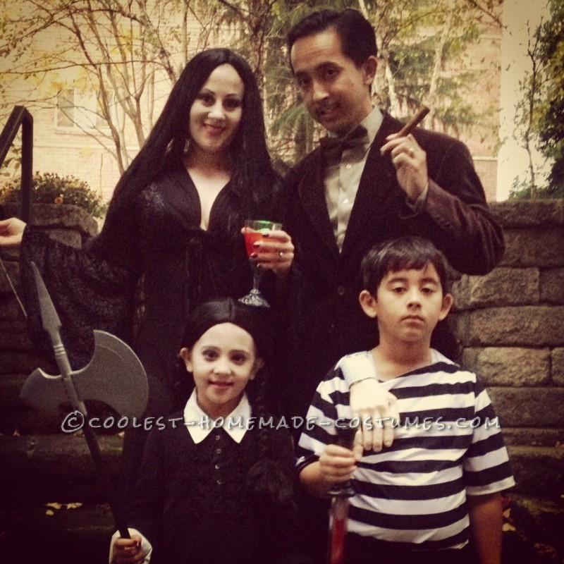 This year I wanted to pick a costume for my family of four. One of our favorite movies is The Addams Family, and it was a perfect fit for us, and ver