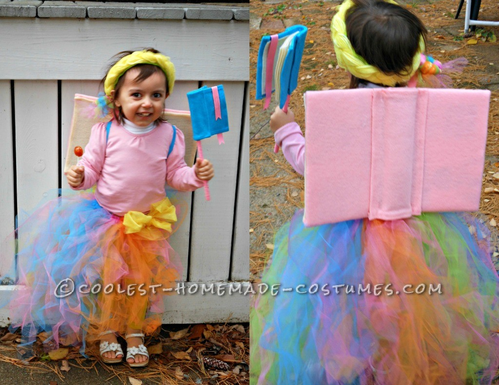 This year my three year old daughter, Danika, was a Book Fairy! I started with the skirt, using just some elastic band for the waste, and some tulle.