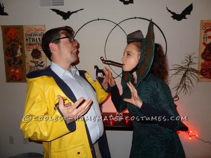My boyfriend is a huge Jurassic Park fan so we went as Dennis Nedry and the Dilophosaurus that spit on him from the movie. I used a Jack Sparrow pira