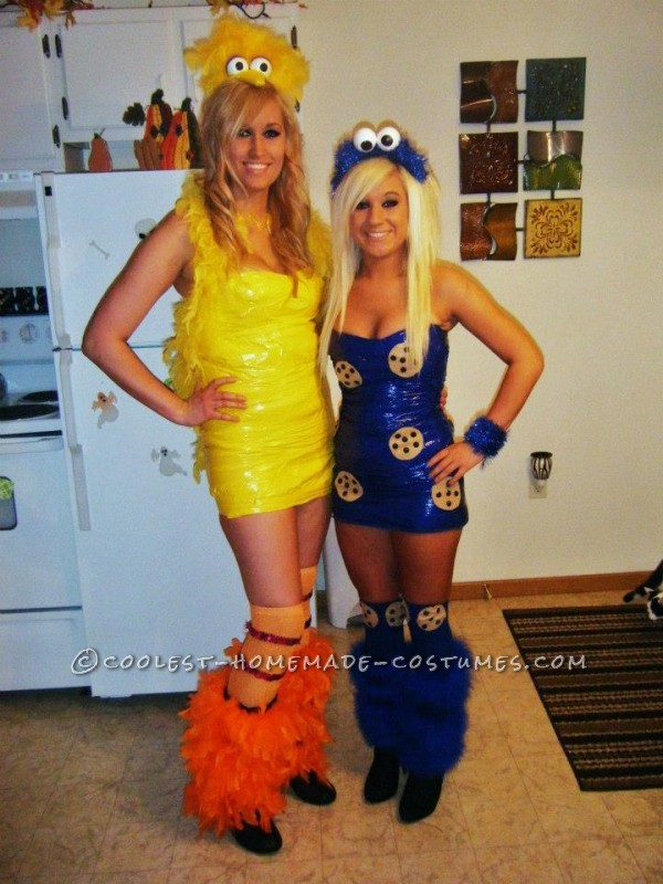 Hi, Im Megan and these are my friends and mine Sesame Street 2012 costumes. Im Cookie Monster, Emily is Oscar, Shelby is Big Bird and Brittney is Elm