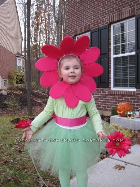 Cute Girl's Homemade Flower Costume