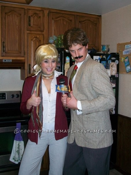 Coolest Ron Burgundy and Veronica Corningstone Couple Costume from Anchorman