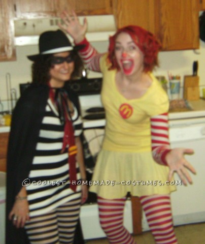 My friend Hilary (Ronald) and I (the Hamburglar) were brainstorming on Halloween costume ideas one year for a group of four of us.  We had the i