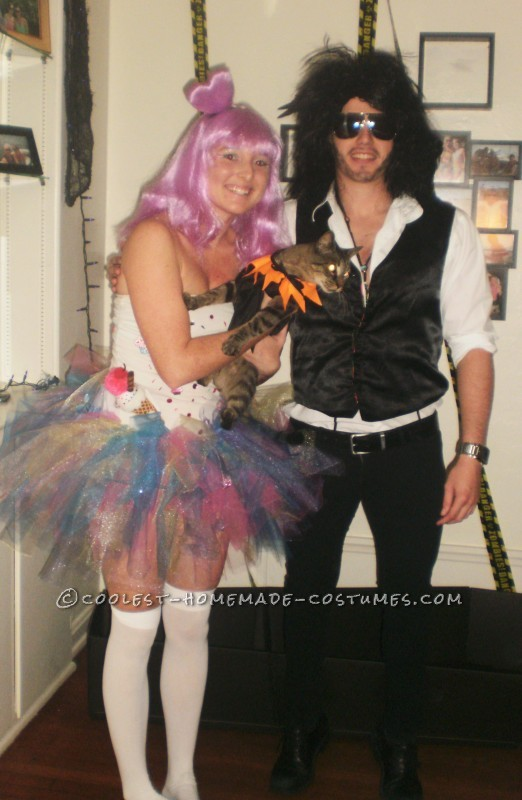 This a fun couples costume :) For Katy I used a plain white tube top.I glued gems, peppermints, a Christmas ornament (Ice cream cone) , iron on cupca