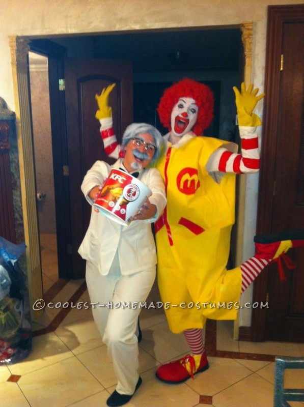 Funny Couples Homemade Halloween Costume: Ronald McDonald and Colonel Sanders