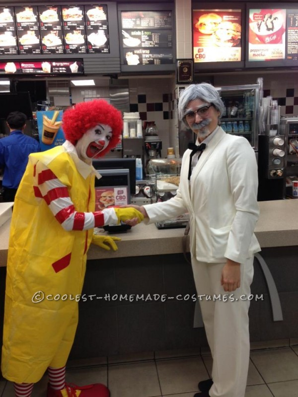Funny Couples Homemade Halloween Costume: Ronald McDonald and Colonel Sanders - 1