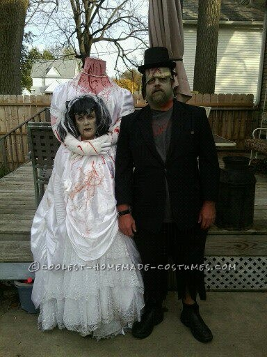 For Halloween 2012, I was the Headless Bride of Frankenstein and my husband was Frankenstein. My costume was made from a thrift store wedding d
