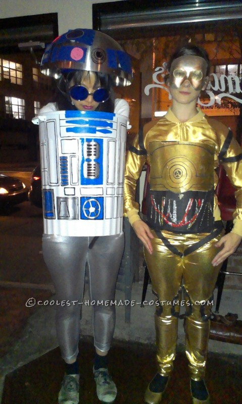 Coolest Girls R2D2 and C3PO Homemade Halloween Costumes