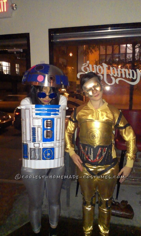 Coolest Girls R2D2 and C3PO Homemade Halloween Costumes - 1