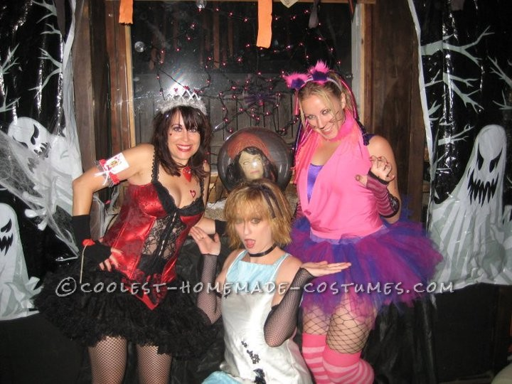 Gothic Queen of Hearts, Alice in Wonderland, and Cheshire Cat.We ended up having most of this in our closets between the three of us. Cat ears