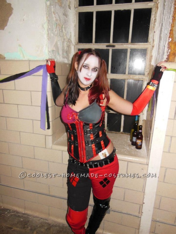Completed costume. Taken inside an aslyum suited for Harley herself.