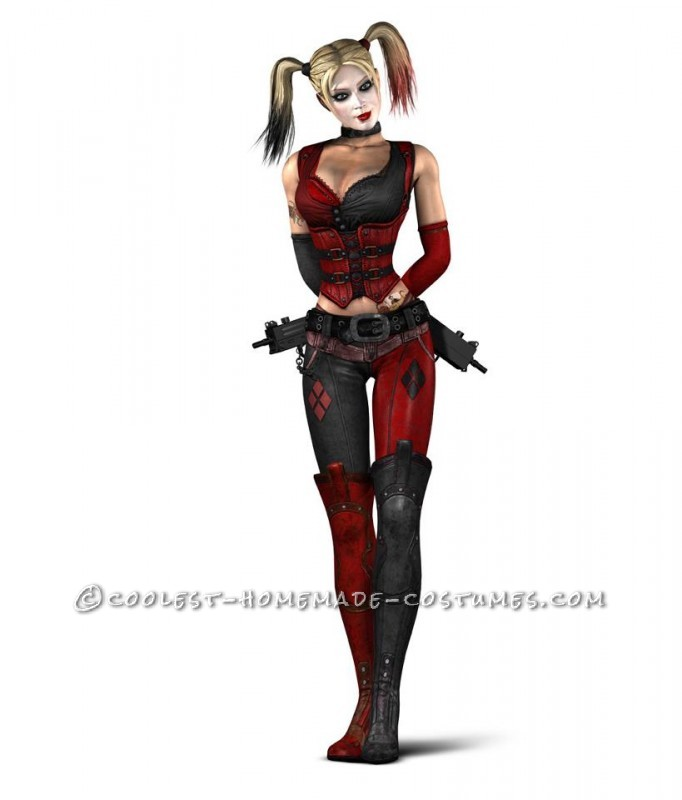 Here is the Arkham City version of Harley Quinn that I based my costume on.