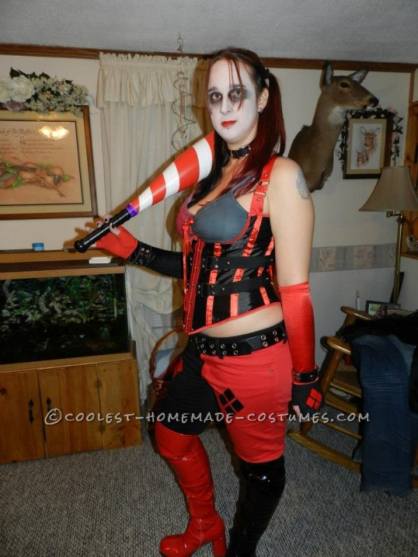 Completed costume with dyed hair and Harley's famous ball bat.