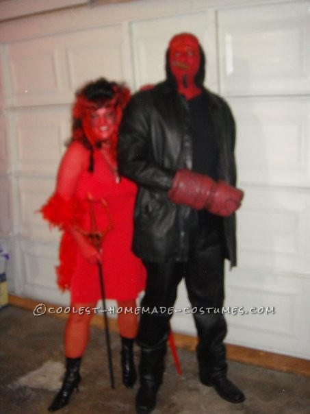 The makeup took 5 hours but well worth it.First I painted my black boyfriend red with theater paint and then took a latex caveman mask cut off peic