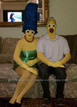 Quite a detailed homemade costume, but easy none-the-less!! We used yellow swim caps for both of our heads to cover all of our hair (2 bucks on amazo