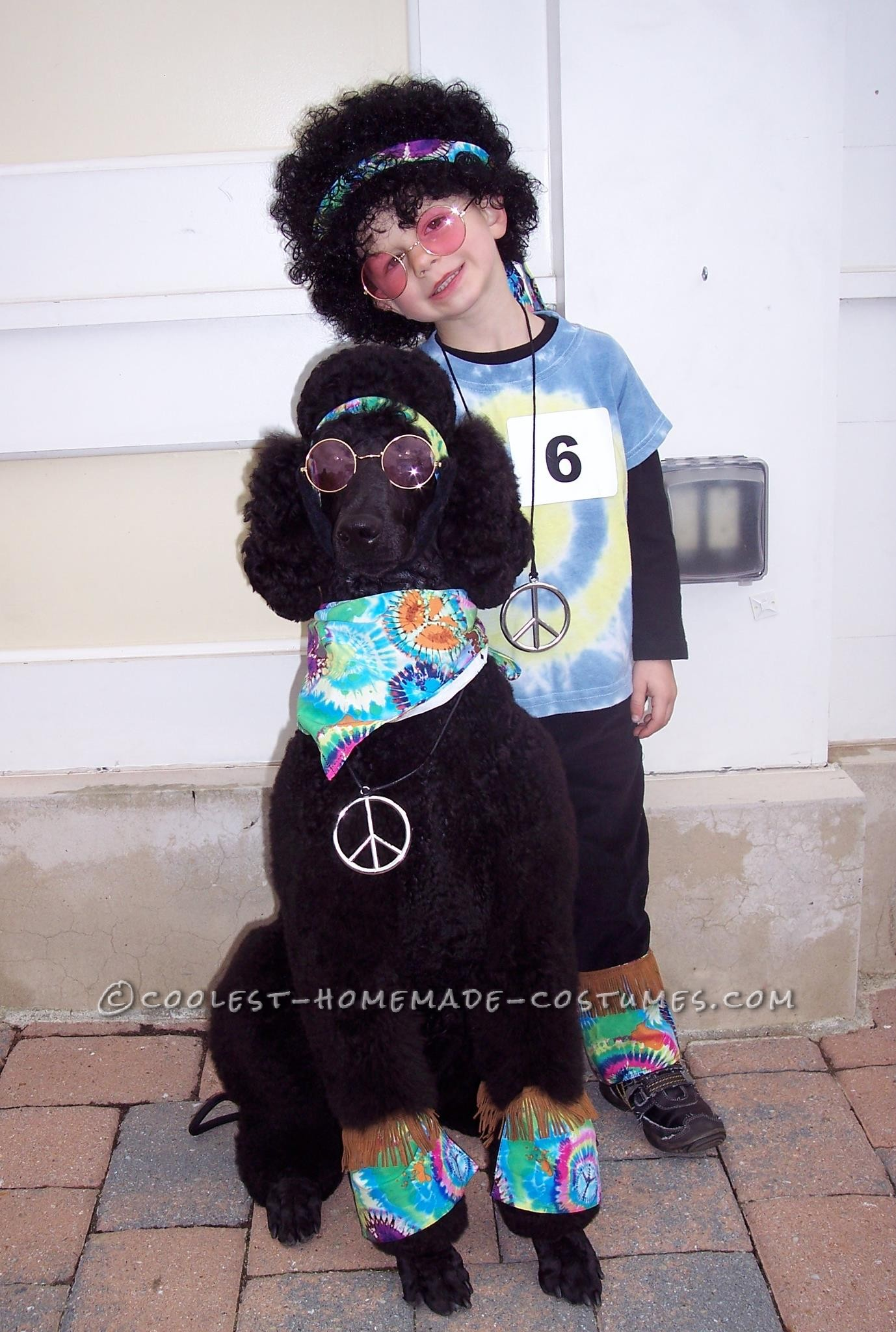 """The hippie costume came about since our dog already comes with his own \""""fro.\"""" I bought about 2 yards of tie-dyed fabric, and 1.5 yards of"""