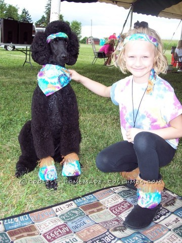 "The hippie costume came about since our dog already comes with his own ""fro.""  I bought about 2 yards of tie-dyed fabric, and 1.5 yards of"