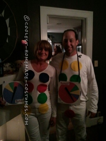 I saw the twister idea on your website originally but just for a guy.  We decided to make it a couples costume. We both wore white on top and bo