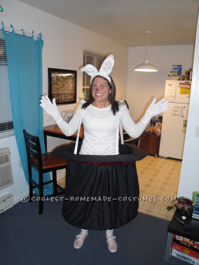 A couple years ago I really wanted to be a Rabbit in a Magic Hat. I already had the rabbit ears and tail. I used lipstick and eye pencil