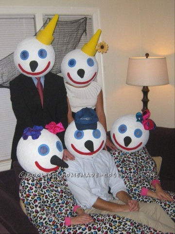 I decided to make a family of jack-in-the-box heads with a group of five friends. You need to buy big bouncy balls from toys-r-us. I paper mached the