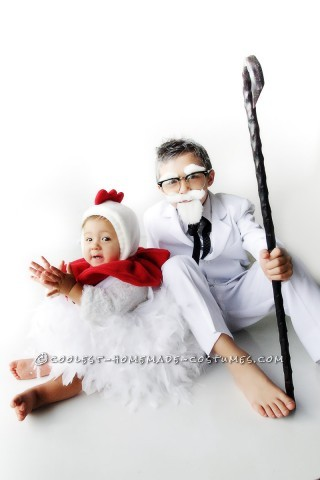 Colonel Sanders costume – found a white 3-piece suit online for $9.  From Ebay I purchased the horn-rimmed glasses for $5 and the cane for