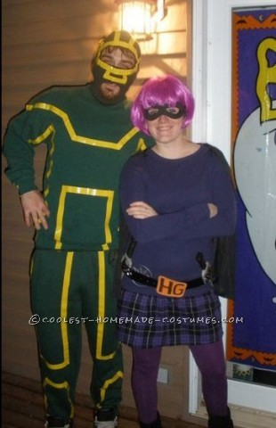 We made these costumes! I found the green sweatpants at a thirft store, bought a green ski mask and used yellow electrical tape to make the stripes f