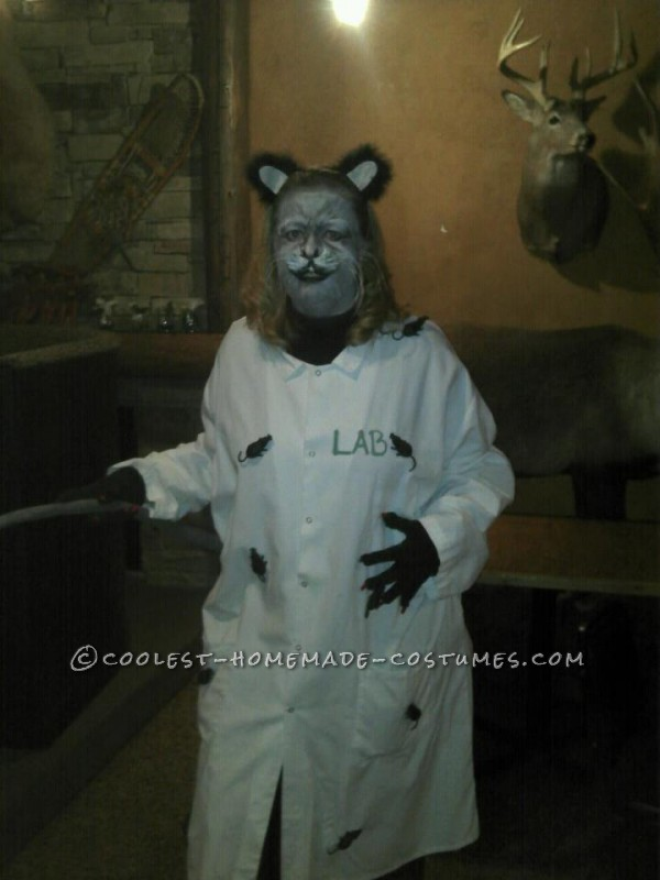 LAB RAT  Very easy costume – I got the lab coat donated to me bye a uniform company, I pinned rats from the dollar store all over my coa