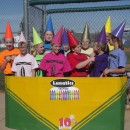"""This was half homemade. Our 12 and 13 year old LUNATICS softball teamplayed a Halloween tournament dressed as """"Lunatics"""" brand crayons."""