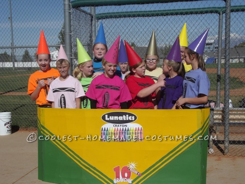 This was half homemade.  Our 12 and 13 year old LUNATICS softball team played a Halloween tournament dressed as