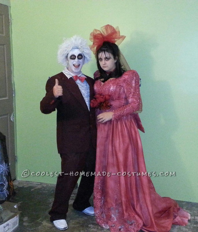 Last Minute Beetlejuice and Lydia Homemade Halloween Costumes