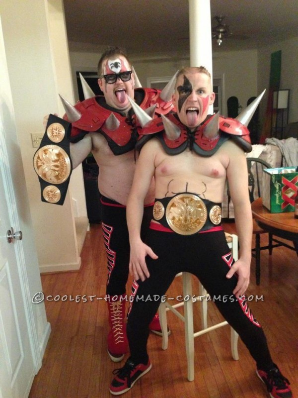 Me and my buddy went asseparateluchadorslast year, so we wanted to team up to make the best tag team costume so we got used footbal