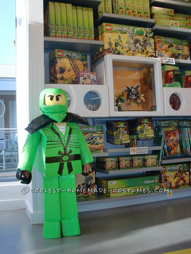 I can't take credit for the idea this was my sons doing. He wanted to be the Green ninja from Ninjago but had to have the Lego block version. I look