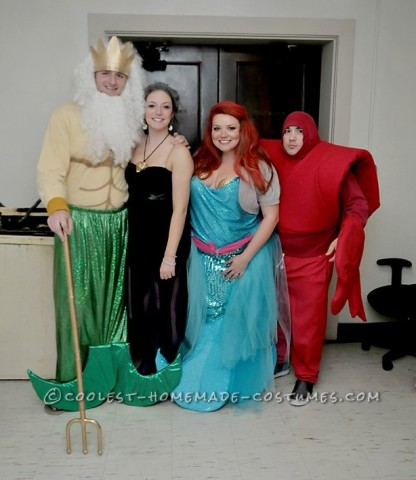 All of these costumes were pieced together by things that we found at a thrift store. The Ariel costume was a dress that we cut to look like a skirt.