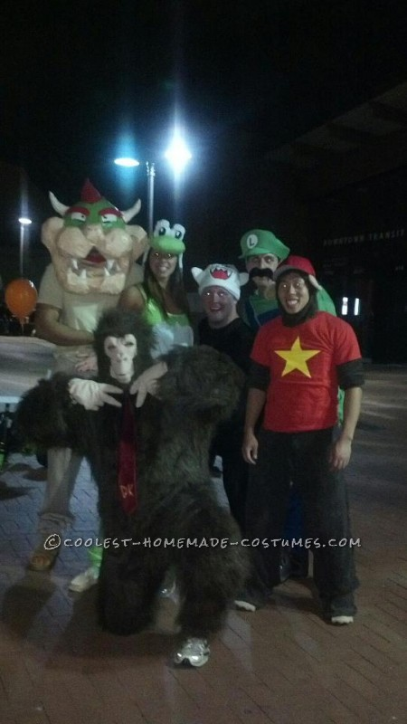 On the weeks preceeding halloween week 2012 our group put together six different mario kart character costumes complete with matching adult size big