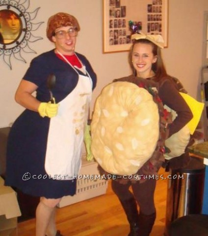 Inspired from the SNL Skit! Homemade Sloppy Joe Costume: We found 2 circular cushions at Joann fabrics. We were also lucky enough to find that yell
