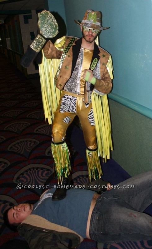 "This is a costume I made last Halloween to pay tribute to the late wrestler ""Macho Man"" Randy Savage who passed away in 2011. I took a suit jack an"