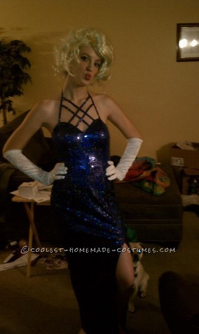I found my dress at a thrift store for 5 dollars, I went to the store and found this blonde wig for 6 dollars. It was medium length, and curly. I too