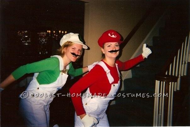 Coolest Homemade Mario and Luigi Girl's Couple Costume