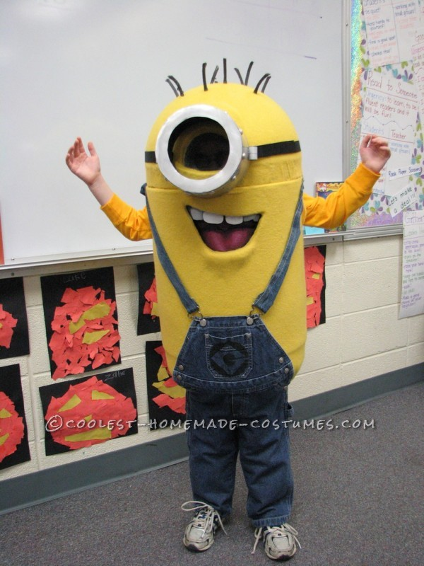 As soon as my son saw Dispicable Me, my son immediately knew he wanted to be a minion. I had made his costumes for the past several years (&aci