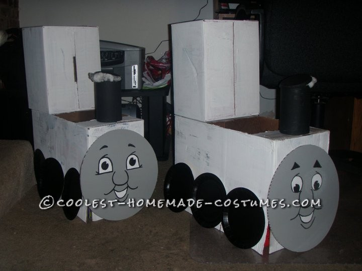 My boys absolutely loved Thomas the Train. For Halloween, 2 years ago, we decided to have them be Thomas & James. l figured l could make the cost