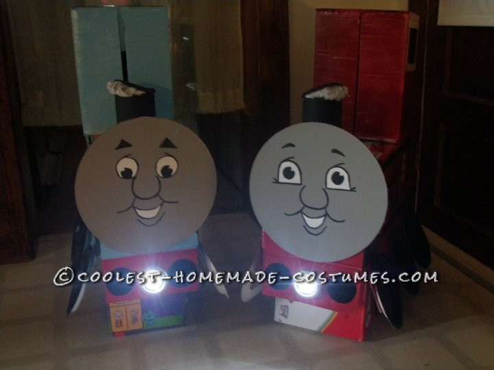 My Boys in Thomas and James Trains Homemade Halloween Costumes - 5